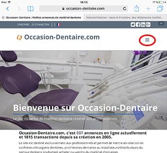 page index avec accès au manu par le logo
